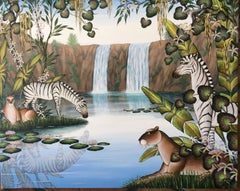 """Waterfalls"" Lions, Zebras Tropical Jungle Painting Gustavo Novoa"