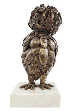 Mid Century Modern Brutalist Welded Owl Expressionist Sculpture