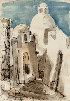 "WPA Woman Artist ""Santorini Street"" Modernist Abstract Watercolor of Houses"