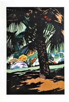 Tropical Jungle (Palmettos) Palm Tree Silkscreen Lithograph Hand Signed