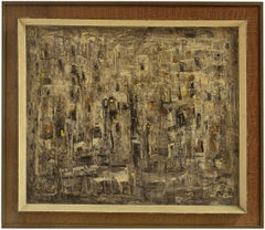 "Israeli Modernist Abstract Expressionist ""Winter"" Cityscape Oil Painting"