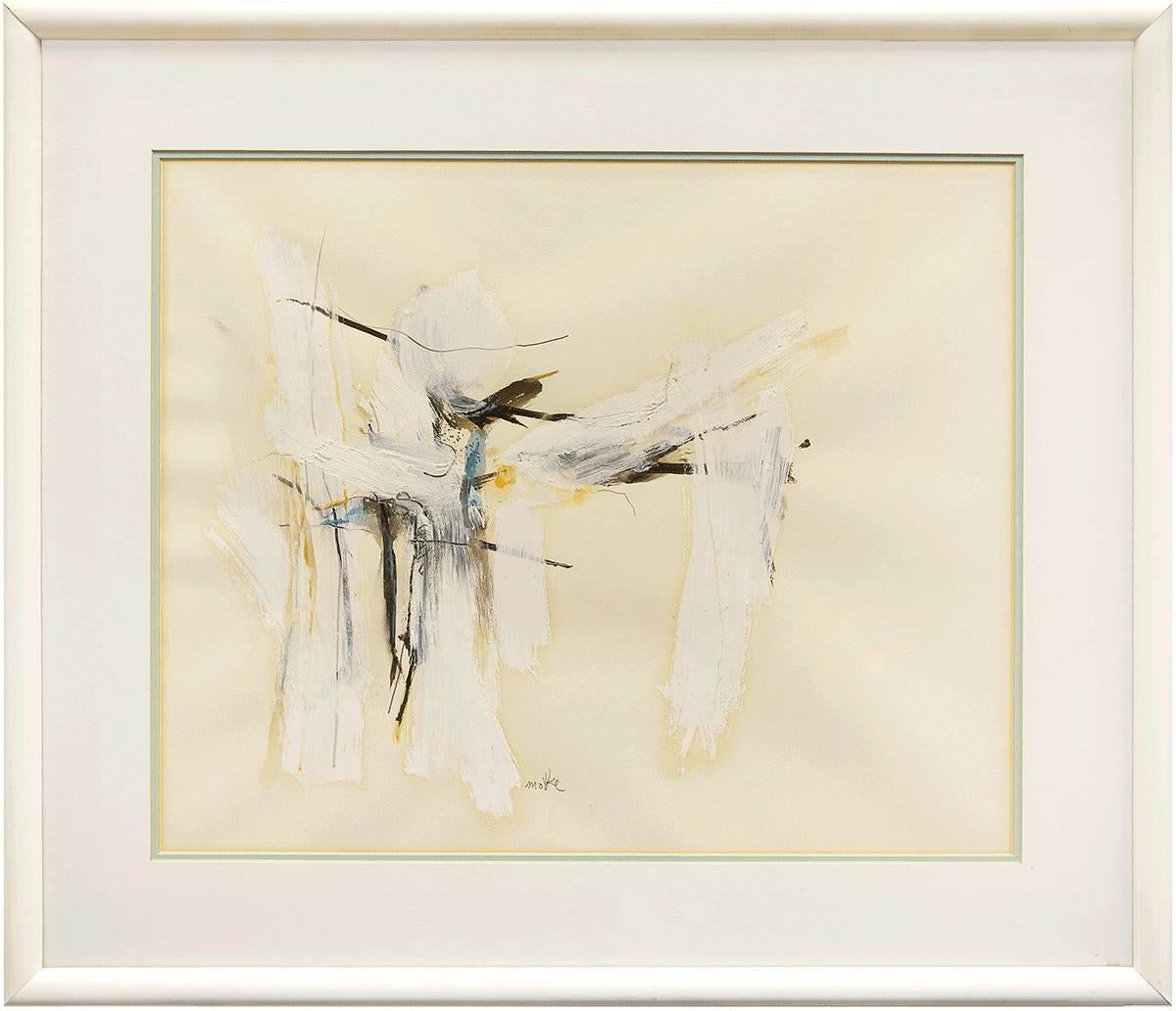 Israeli Modernist Abstract Expressionist Mixed Media Painting White on White