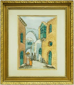 Israeli Modernist Old City Jerusalem Landscape Folk Art Watercolor Painting