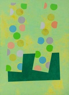 "Huge Oil Painting ""Jeu D'enfant"" Colorful Vibrant Abstract Geometric"