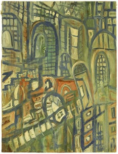 Abstract Expressionist Streets of Jerusalem Israeli Painting 1950