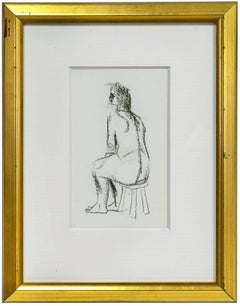 Figure Study of a Nude Woman Sitting on Stool Charcoal Drawing