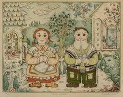 Bubby and Zayde, Judaica Folk Art Jewish Lithograph