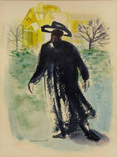 Modernist American Judaica Painting Rabbi Walking to Synagogue