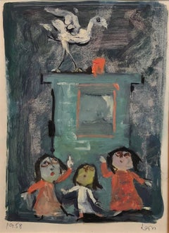 Children at Play, Whimsical Painting on Paper by WPA artist