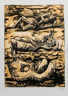 Henry Moore 1973 Lithograph edition 28/75 Sculpture Figures Reclining Nudes