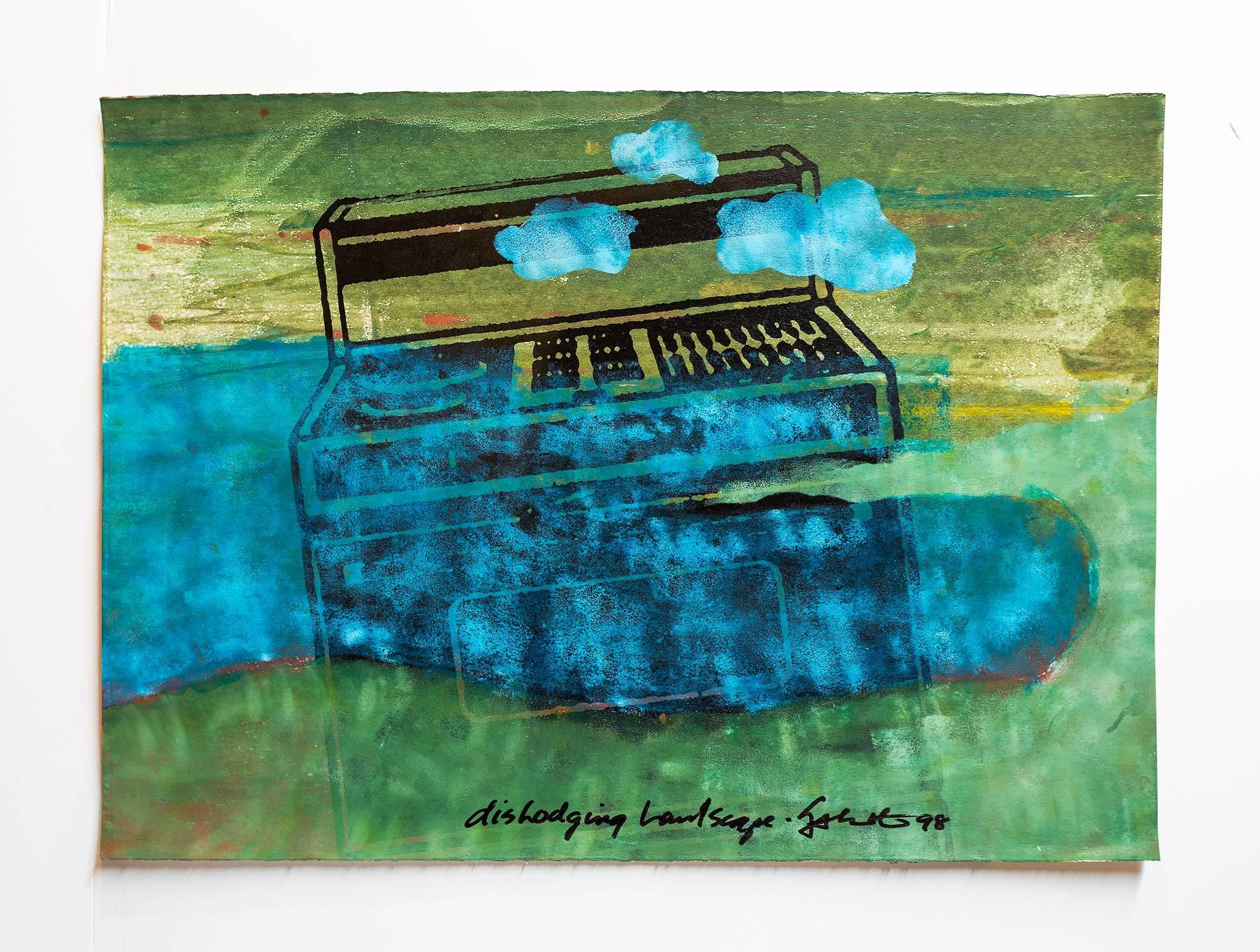"Iain Baxter& ""Dislodging Landscape"" Conceptual Monoprint Painting"