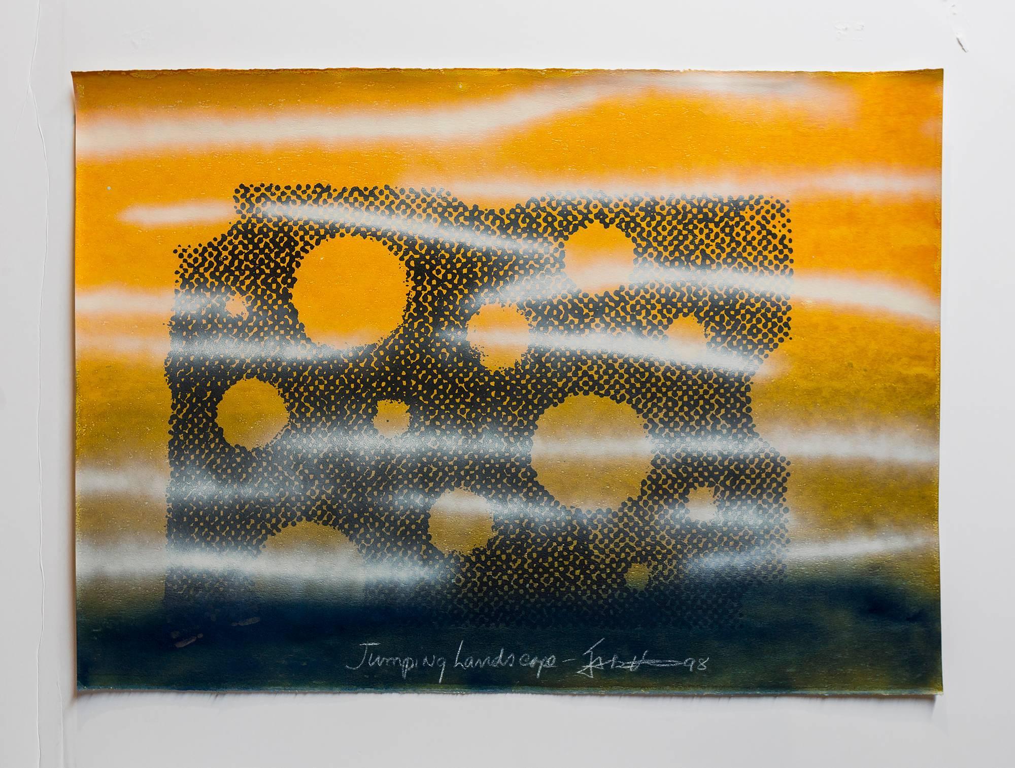 "Iain Baxter& ""Jumping Landscape"" Conceptual Monoprint Painting"