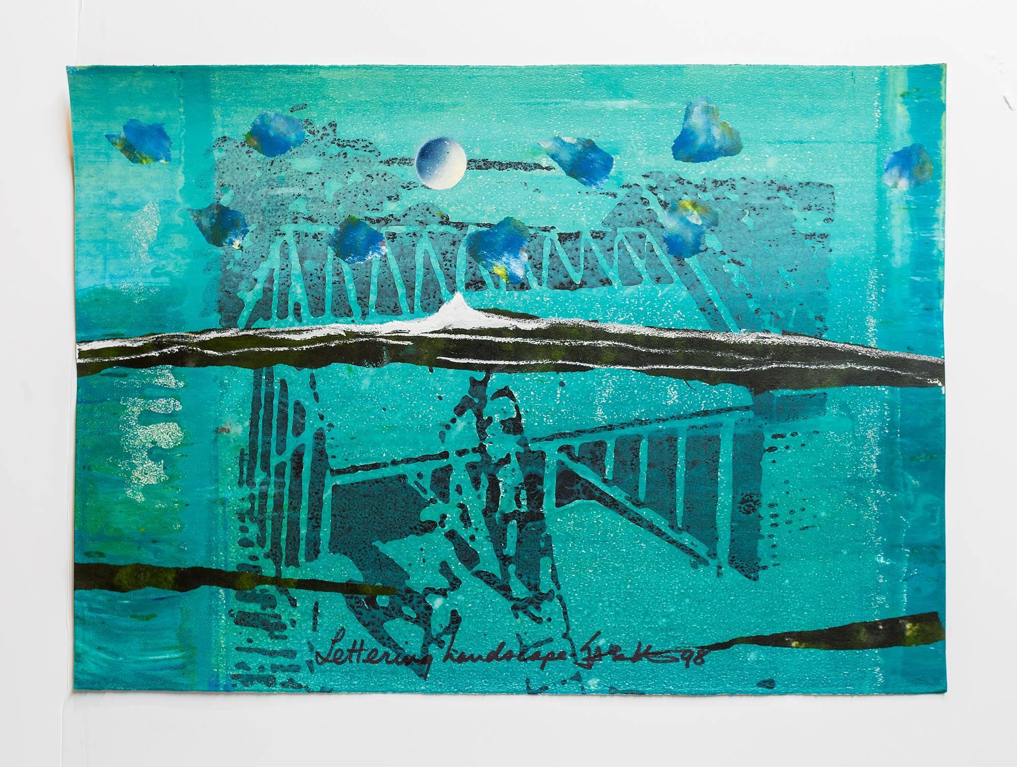 """Iain Baxter& """"Lettering Landscape"""" Conceptual Monoprint Painting"""