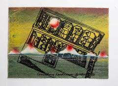 "Iain Baxter& ""Correcting Landscape"" Conceptual Monoprint Painting"