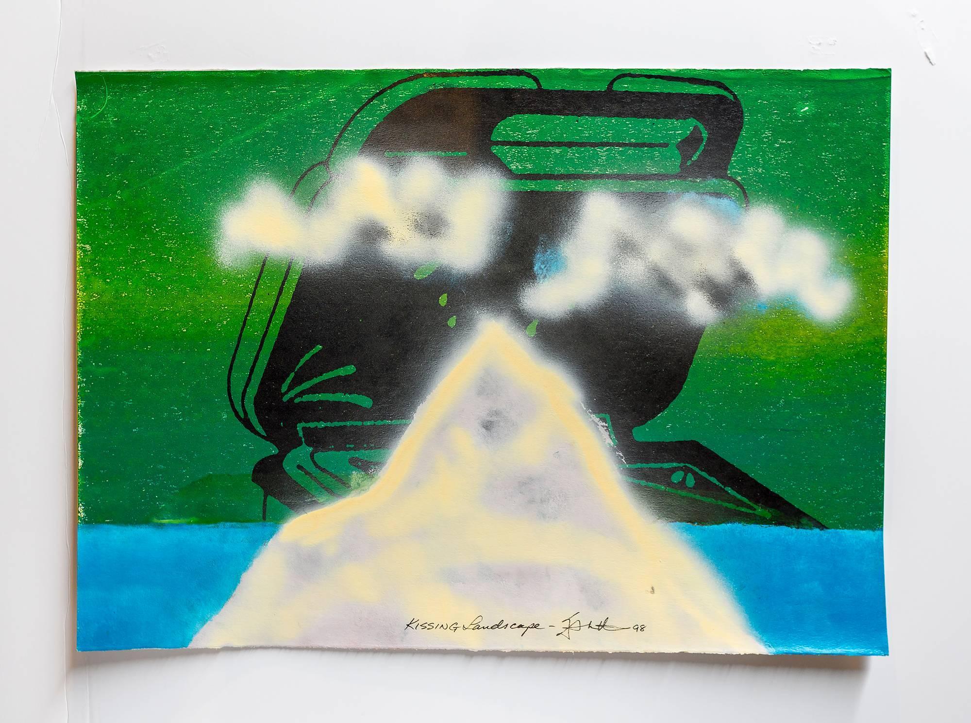 """Iain Baxter& """"Kissing Landscape"""" Conceptual Monoprint Painting"""