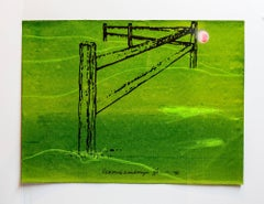 """Iain Baxter& """"Reaching Landscape"""" Conceptual Monoprint Painting"""