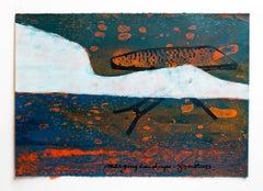 """Iain Baxter& """"Merging Landscape"""" Conceptual Monoprint Painting"""