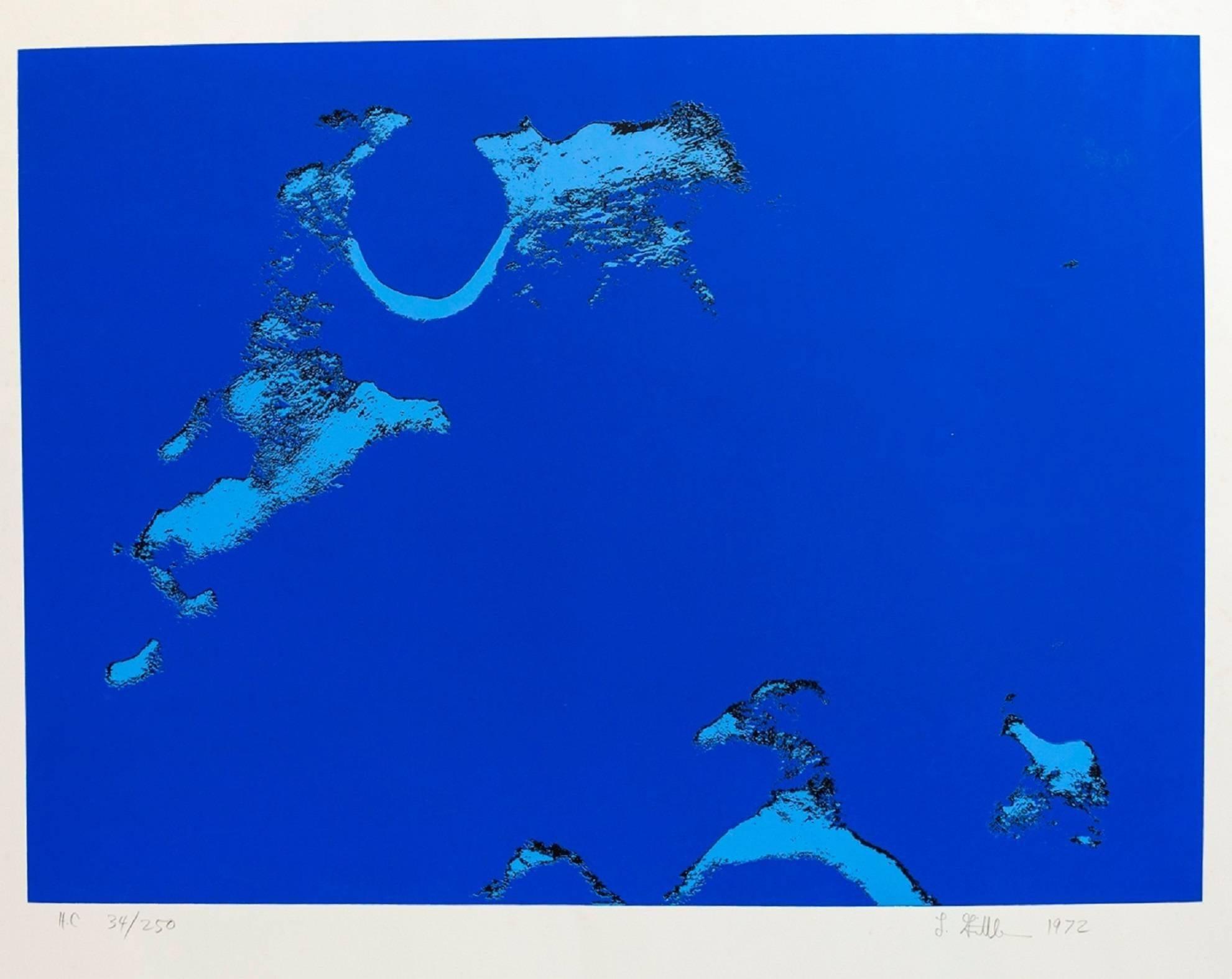 Lunar Landscape Abstract Signed Numbered Screenprint Blue