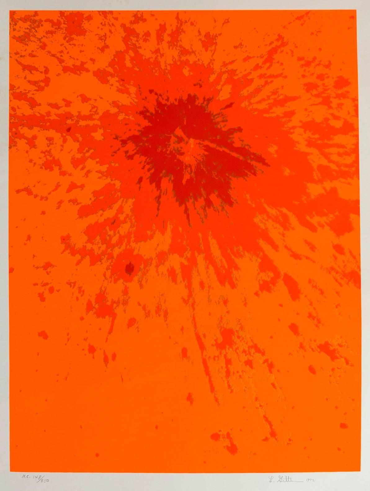 Lunar Landscape Abstract Signed Numbered Screenprint Orange