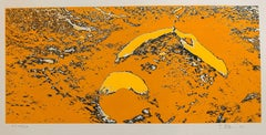 Lunar Landscape Abstract Signed Numbered Screenprint Yellow