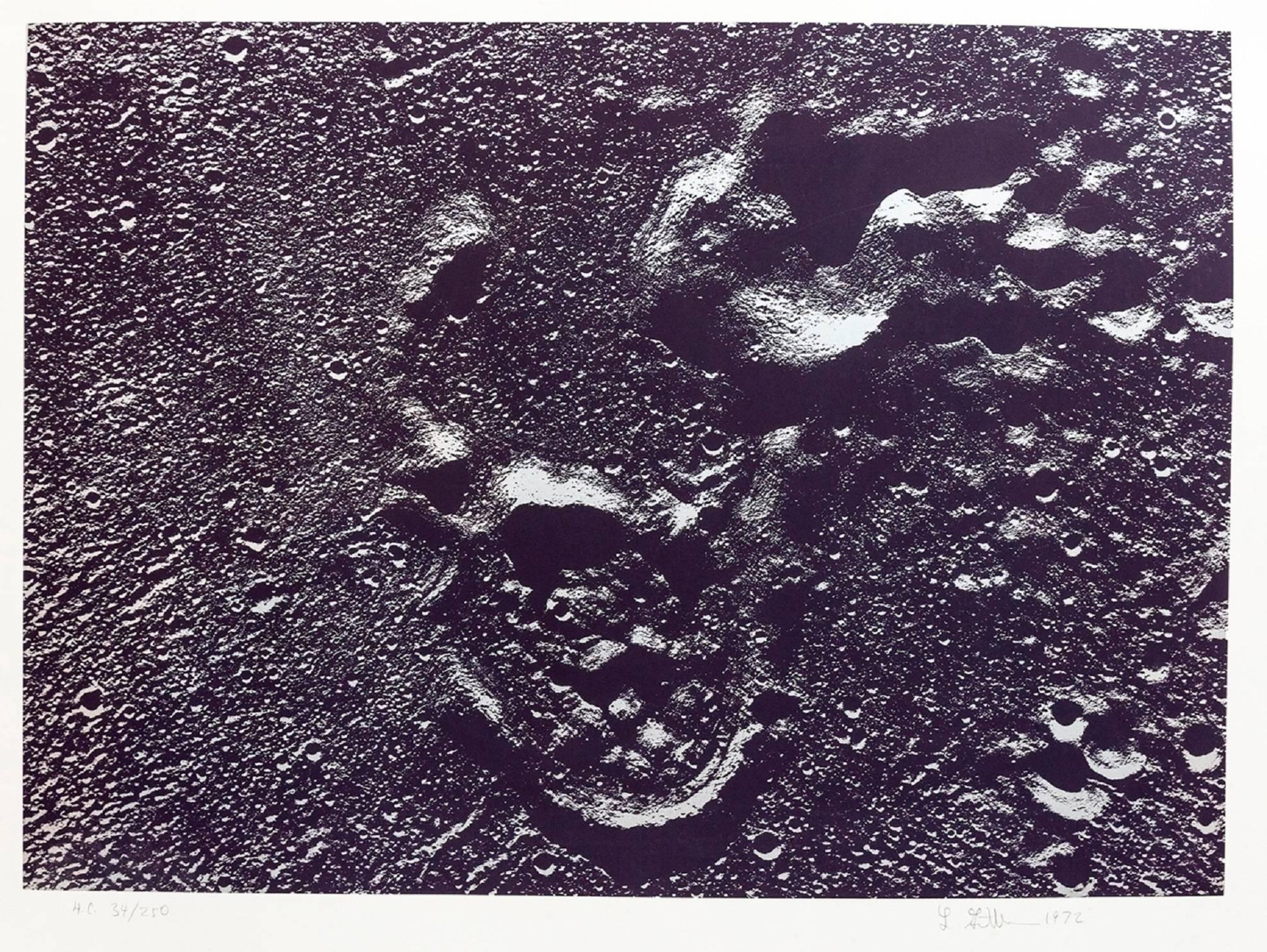 Lunar Landscape Abstract Signed Numbered Screenprint Silver Gray