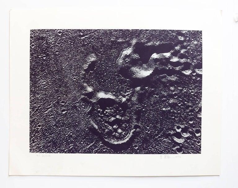 Lunar Landscape Abstract Signed Numbered Screenprint Silver Gray - Print by Len Gittleman