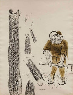 The Woodcutter, Americana Large Watercolor, Ink Painting WPA Artist