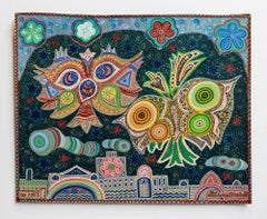 Israeli Folk Art Bright Colorful Naive Jerusalem Vibrant Landscape Painting