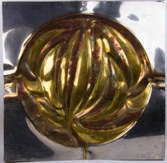 Italian Silvana Cenci Signed Mid Century Modern Steel Gold Explosion Sculpture