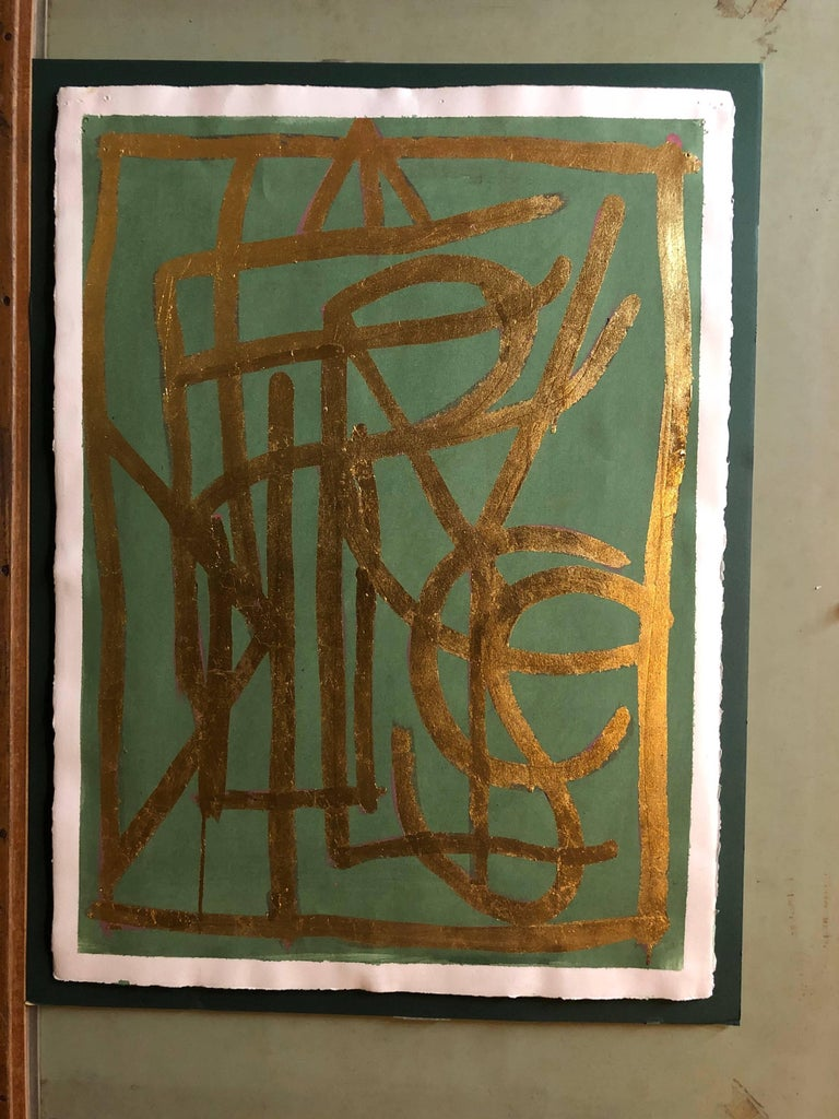 Turkish LA Artist Modernist Abstract Portrait in Gold Leaf on Paper Painting - Brown Abstract Painting by Ali Acerol