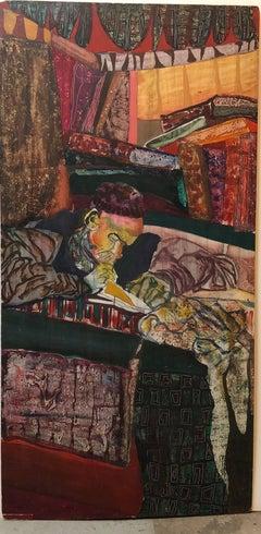 Mid Century Modernist Judaica Rabbi Scribe Painting Outsider Art