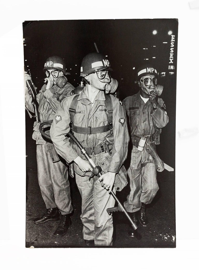 Large Vintage Print Silver Gelatin Signed Photograph, August 1968 National Guard