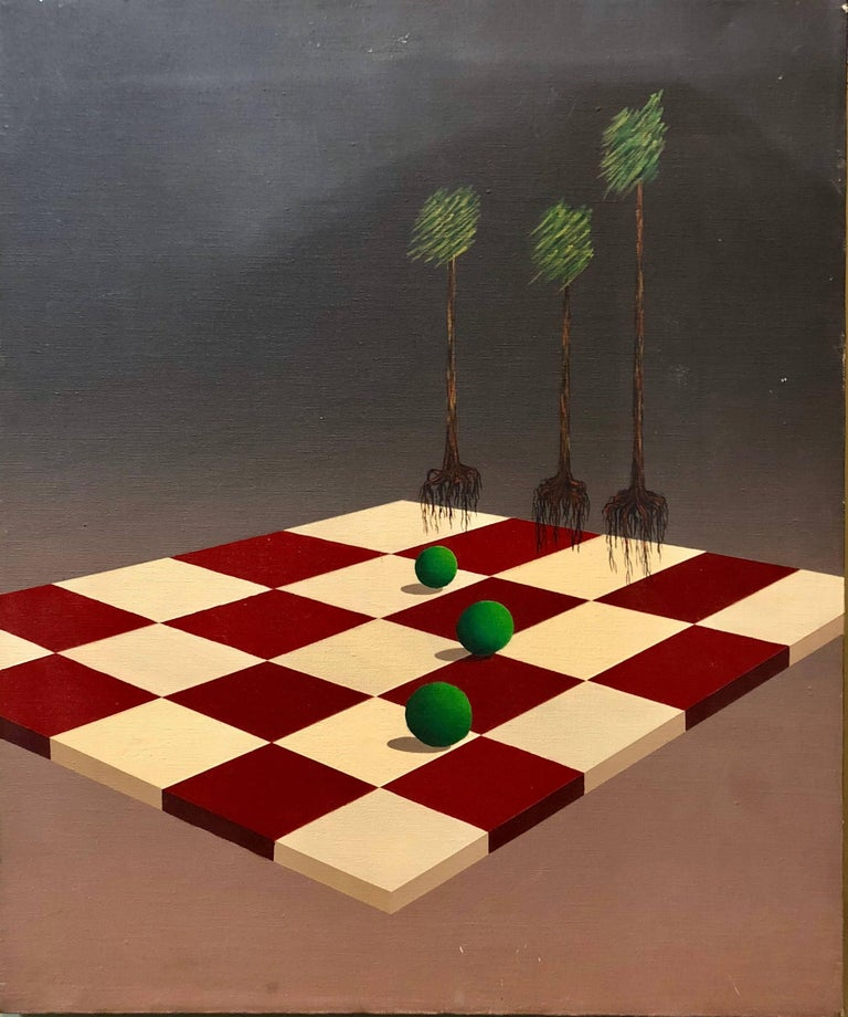 Celina Hinojosa Abstract Painting - Latin American Surrealist Landscape with Chess Board Oil Painting Chicano Artist