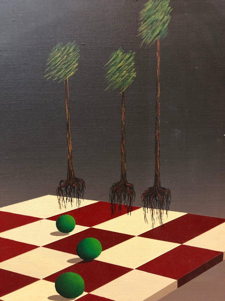Latin American Surrealist Landscape with Chess Board Oil Painting Chicano Artist - Brown Abstract Painting by Celina Hinojosa