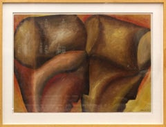 Large Modernist Italian Oil Painting Surrealist Abstract Figures