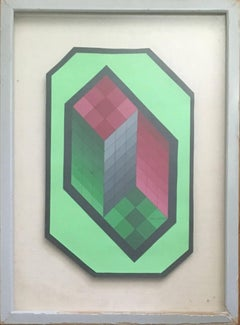 Vintage Chokk Mini C Original Op Art Vasarely Collage Painting