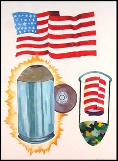DELIVERY, NINE MILLIMETER FLAG, 2001 Gouache Painting