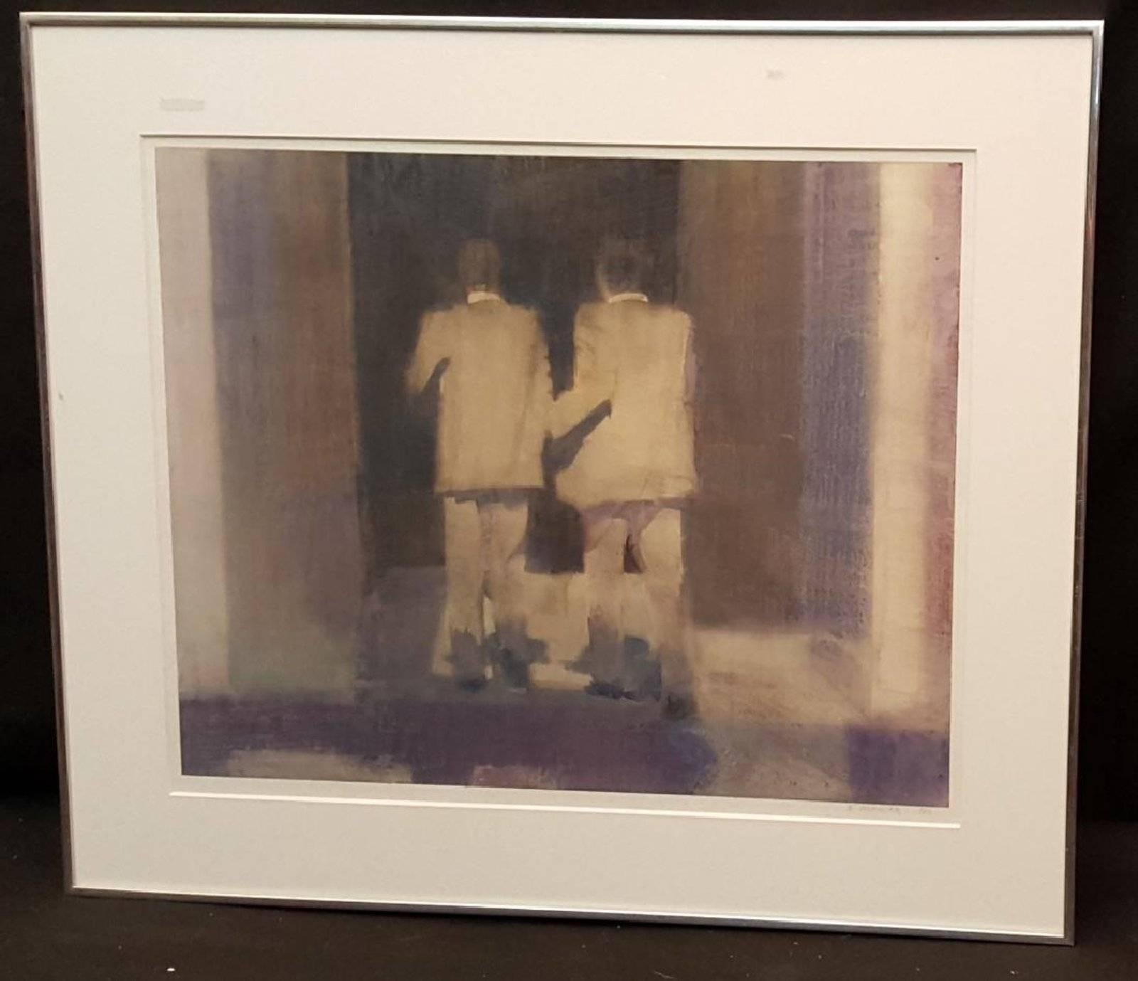 """Modernist Watercolor Painting """"Passages in Darkness"""" NYC Businessmen"""