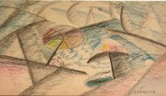 Modernist Crayon Pastel Drawing Cubist Beach Scene with Umbrellas