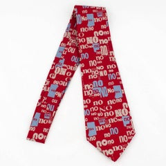 Silk Embroidered Cultural Tie No No No Wearable Art or Wall Hanging Ltd Ed.