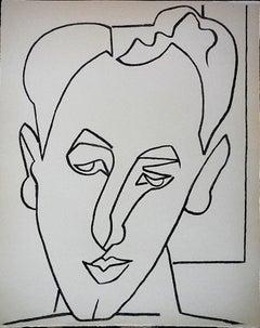 Portrait Head of a Man Original French Mourlot Modernist Lithograph 1950s