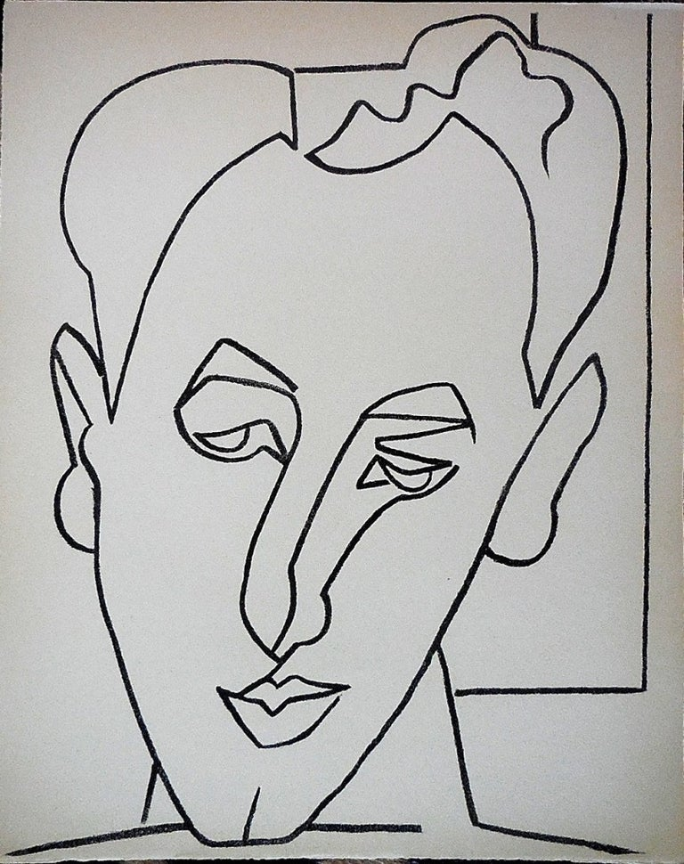 Portrait Head of a Man Original French Mourlot Modernist Lithograph 1950s