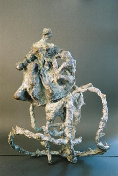"""Polish-South African Modernist Bronze """"The Rose"""" Expressionist Sculpture"""