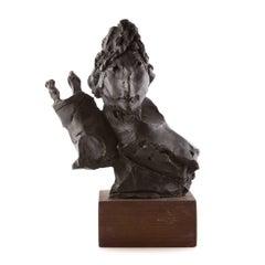 Bronze Sculpture Rabbi w Torah Judaica Figure American Boston Figural Modernist