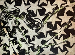 Large Mod Acrylic Painting Pop Art Star Burst Abstract Modernist Master