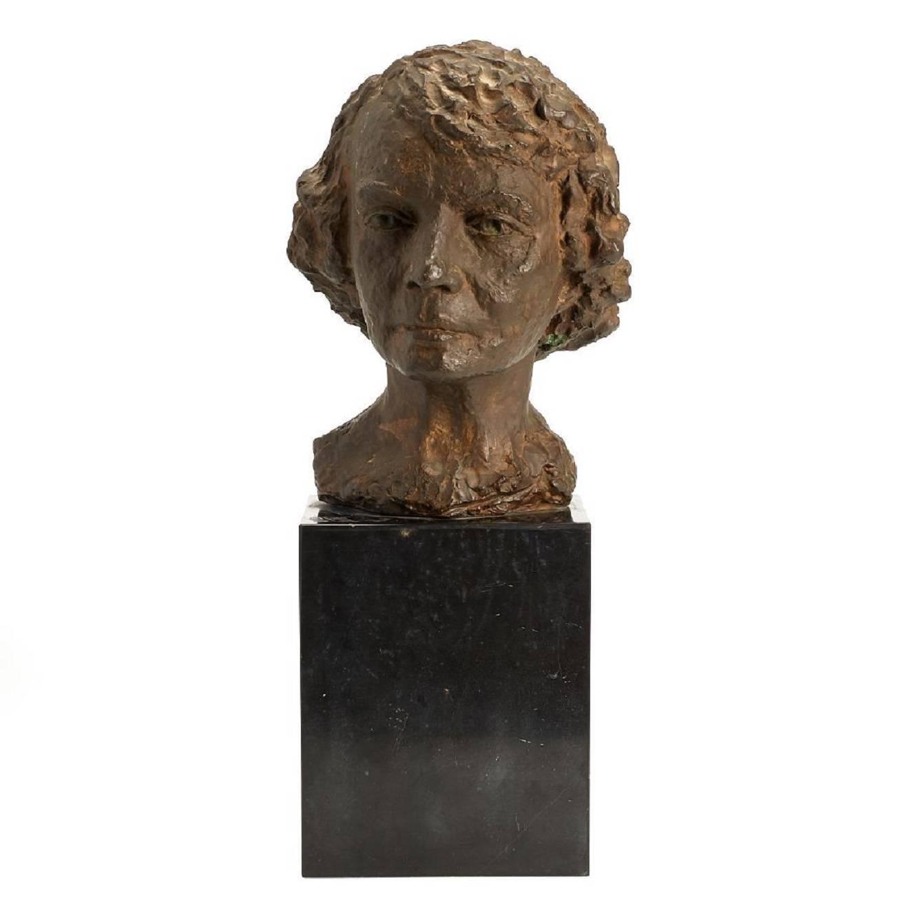 Rare Bronze Portrait Sculpture Bust Bronze by HRM Queen of Belgium