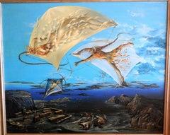 Atlantis, Large Surrealist Oil Painting. Viennese Fantastic Realism