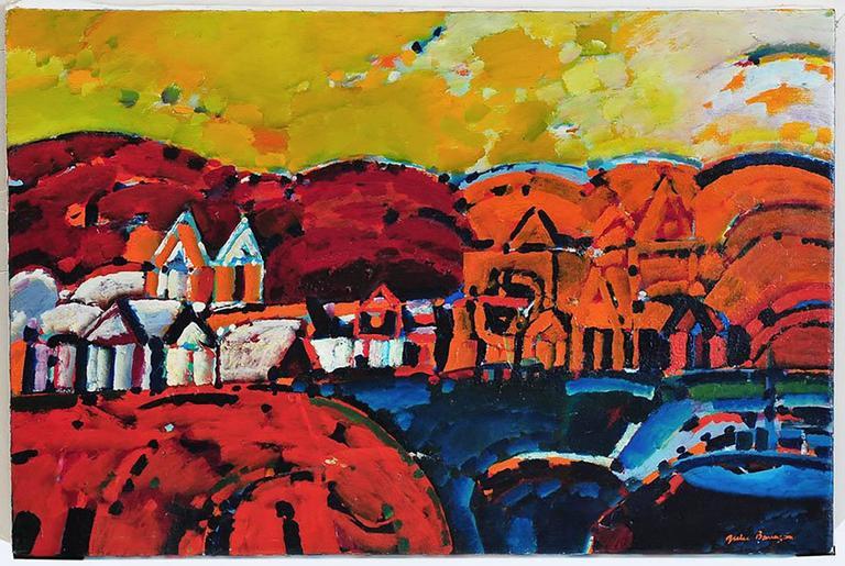 Julio Barragan Landscape Painting - Paisaje de la Rioja Argentinian Modernist Concretist Cubist Oil Painting