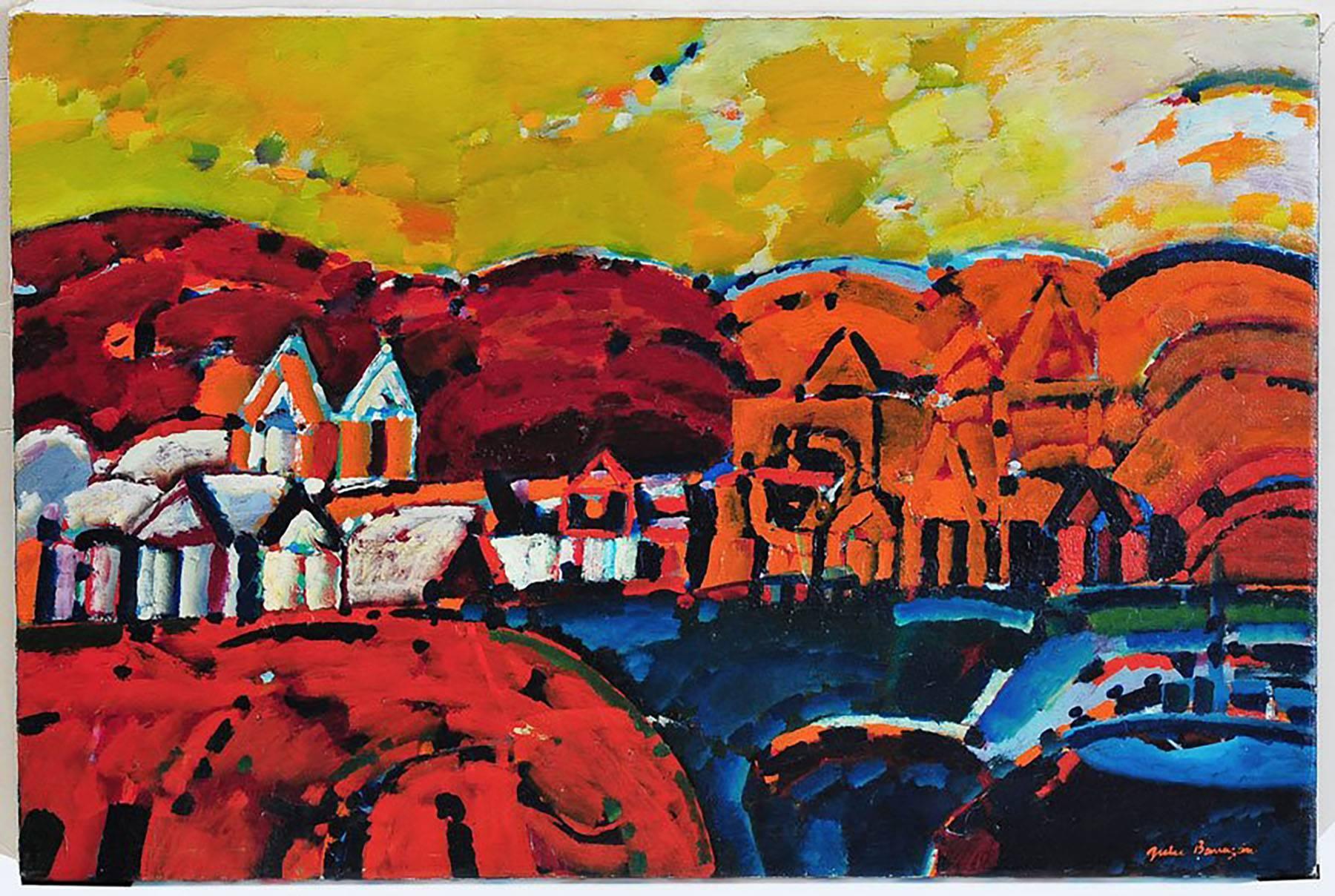 Paisaje de la Rioja Argentinian Modernist Concretist Cubist Oil Painting