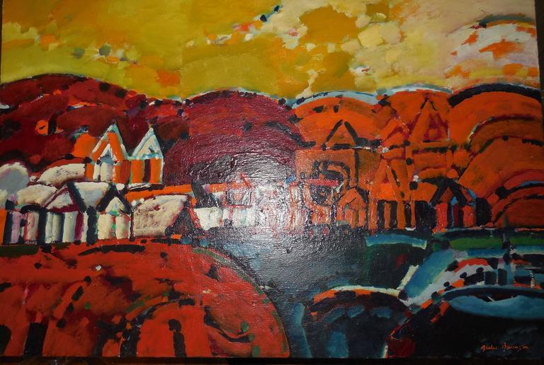 Paisaje de la Rioja Argentinian Modernist Concretist Cubist Oil Painting For Sale 4